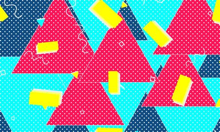 Abstract fun background. Memphis design. Colour shapes pattern. Vector Illustration.