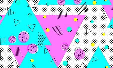 Purple Line Art. Turquoise Funny Drawing. Geometric Texture. Splash Fashion. Pink Graphic Composition. Memphis Design. Blue Fun Cover. 向量圖像