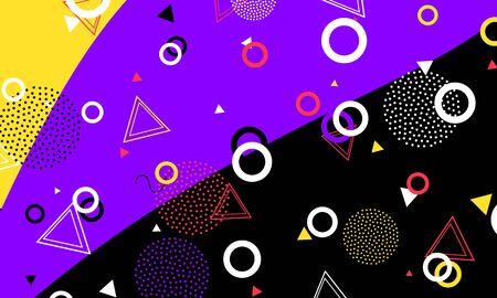 Memphis Design. Artistic Backdrop. Black Funny Print. Hipster Elements. Pop Art. Violet Wallpaper. Creative Flyer. Ink Color Ornament. 向量圖像