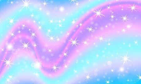 Fantasy universe. Fairy background. Vector illustration. Holographic magic stars. Unicorn pattern. Candy background. Archivio Fotografico - 137423832