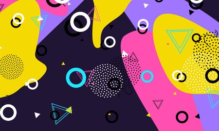 Abstract retro background. Memphis. 90s pattern. Geometric shapes background. Vector Illustration. Hipster style 80s-90s.