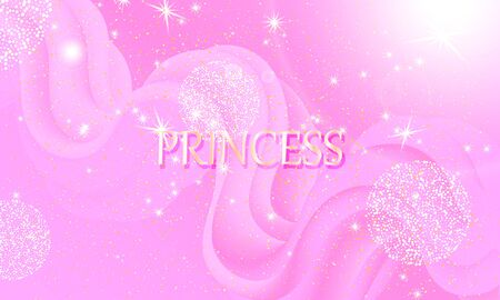Princess background. Mermaid rainbow. Magic stars pink. Unicorn pattern. Fantasy galaxy. Fairytale print. Pink princess colors.