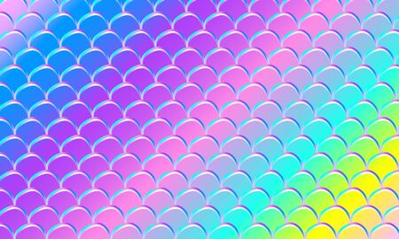 Mermaid kawaii pattern. Fish scale. Watercolor holographic stars. Color vector illustration. Rainbow background.