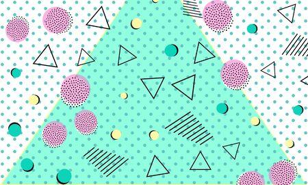 Memphis Backdrop. Baby Blue Decor. Graphic Drawing. Retro Poster. Dot Flyer. Cute Fashion.