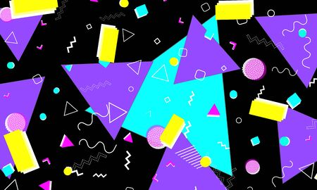 Pop art color background. Memphis pattern. Vector Illustration. Hipster style 80s-90s. Abstract funky background.