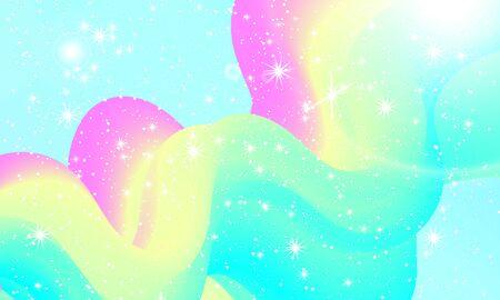 Unicorn pattern. Fairy background. Mermaid rainbow. Holographic magic stars. Rainbow fantasy universe background.