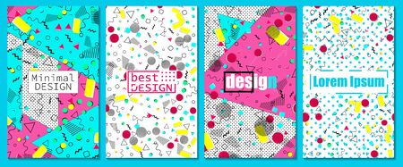 Vector Illustration. Memphis pattern. Pop art. Fun background. Geometric shapes. Abstract colorful background.