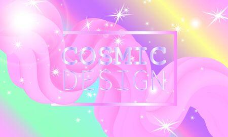 Fantasy universe. Fairy background. Vector illustration. Holographic magic stars. Unicorn pattern. Candy background. 向量圖像