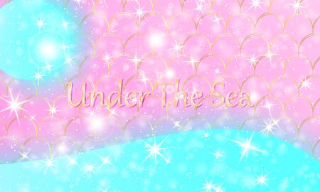 Mermaid kawaii pattern. Fish scale. Watercolor holographic stars. Color vector illustration. Rainbow background. Foto de archivo - 138471345