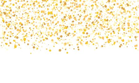 Gold glitter texture. Falling confetti. Golden polka dot background. Vector illustration.