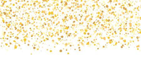 Trama glitter oro. Coriandoli che cadono. Sfondo dorato a pois. Illustrazione vettoriale.