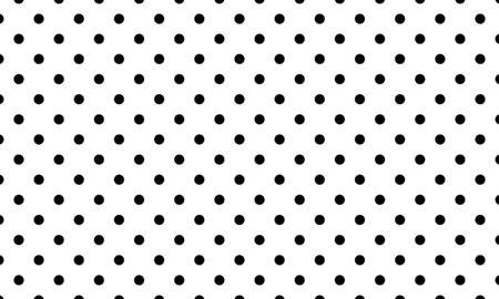 Polka dot pattern vector. Black polka dots on white background.