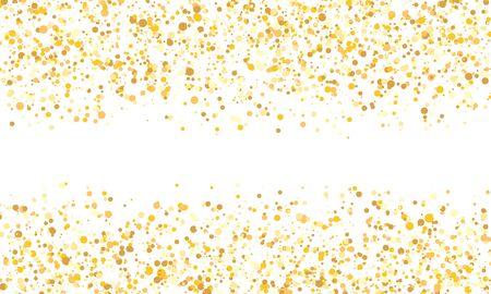Gold glitter texture. Falling confetti. Golden polka dot background. Vector illustration. Foto de archivo - 140889060