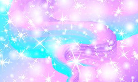 Unicorn pattern. Fairy background. Mermaid rainbow. Holographic magic stars. Rainbow fantasy universe background. Archivio Fotografico - 140889076