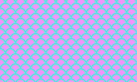 Fish scale. Watercolor holographic kawaii pattern. Mermaid squama. Color vector illustration. Rainbow background. Archivio Fotografico - 140972591
