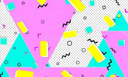 Pink Cartoon Texture. Navy Dot Wallpaper. Line Banner. Trendy Art. Deep Pink Flat Elements. Memphis Fashion. Blue Childish Pattern.