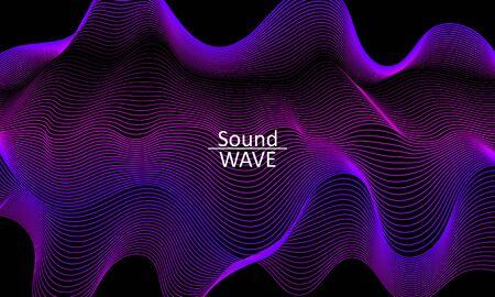 Sound Wave. Abstract 3d Shape. Flow Design. Modern Fluid Background. Liquid Wave. Flow Shape. Liquid Texture. Fluid Flow.