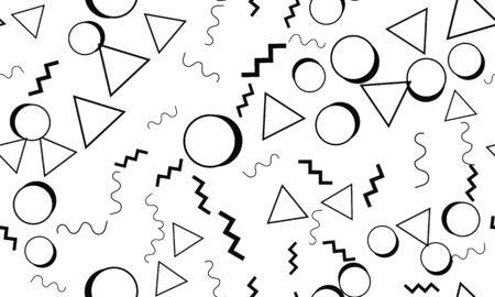 Doodle Backdrop. Memphis Design. Seamless Pattern 90s. Doodle Fun Pattern. Seamless Background. Vector Illustration. Memphis Style 80s-90s. Fun Background. Illustration
