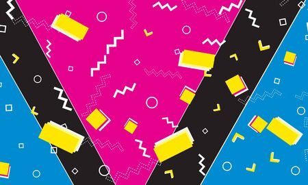 Pop Art Design. Geometric Shapes Background. Memphis Pattern. Pop Art Colors. Vector Illustration. Hipster Style 80s-90s. Abstract Colorful Fun Background.