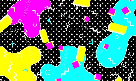 Memphis Pattern. Fun Background. Pink, Blue, Yellow Colors. Memphis Style Patterns. Vector Illustration. Abstract Colorful Fun Background. Hipster Style 80s-90s. 일러스트
