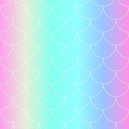 Seamless Pattern. Rainbow Background. Mermaid Scales. Kawaii Colorful Backdrop. Holographic Print. Bright Mermaid Pattern. Vector Illustration. Unicorn Rainbow Background.