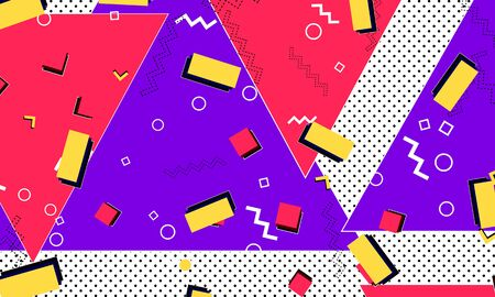 Memphis Design. 80s Background. Purple, Red, Yellow Colors. Abstract Dots. Memphis Pattern. Vector Illustration. Hipster Style 80s-90s Pattern. Abstract Colorful Funky Background. Ilustrace