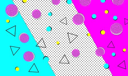 Memphis Background. Abstract Dots. Memphis Pattern. Vector Illustration. Hipster Style 80s-90s. Fun Pattern. Abstract Colorful Funky Background.