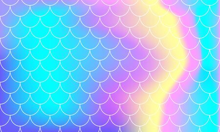 Rainbow Background. Mermaid Scales. Kawaii Colorful Backdrop. Holographic Print. Bright Mermaid Pattern. Vector Illustration. Unicorn Rainbow Background.