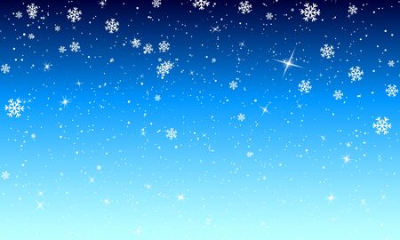 Snow Background. Vector Illustration. Winter Snow. White Snowflakes On Blue Sky. Christmas Background. Falling Snow.