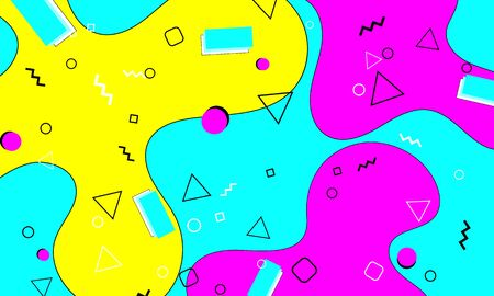 Memphis Pattern. Fun Background. Fluid Flow Shapes. Pink, Blue, Yellow Colors. Memphis Style Patterns. Vector Illustration. Abstract Colorful Fun Background. Hipster Style 80s-90s.