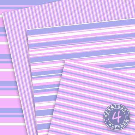 Cute seamless pattern set. Pink, violet colors.