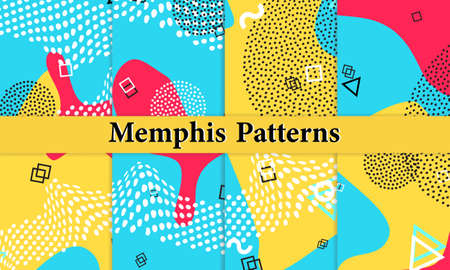 Set of Memphis Pattern. Fun Background. Red, Blue, Yellow Colors. Memphis Style Patterns. Vector Illustration. Funky Pattern. Abstract Colorful Fun Background. Hipster Style 80s-90s.