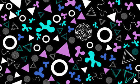 Doodle Fun Background. Seamless Pattern. Summer Doodle Backdrop. Seamless 90s. Memphis Pattern. Vector Illustration. Hipster Style 80s-90s. Abstract Colorful Funky Background. 向量圖像