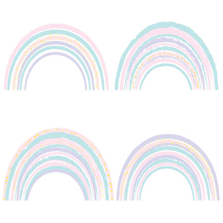 Set of watercolor cute rainbows isolated on a white background. Cartoon rainbows in pastel colors.
