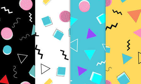 Set of Doodle Fun Seamless Patterns. Summer Doodle Background. Seamless 90s. Memphis Pattern. Vector Illustration. Hipster Style 80s-90s. Abstract Colorful Funky Background.