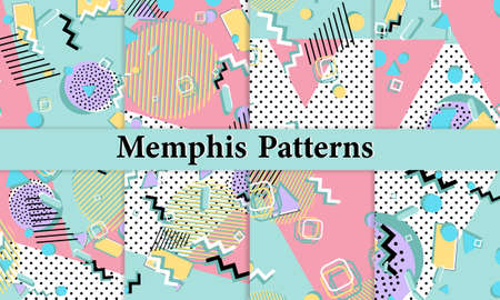 Fun pattern. Memphis style. Abstract retro background. Vector Illustration. Hipster style 80s-90s.