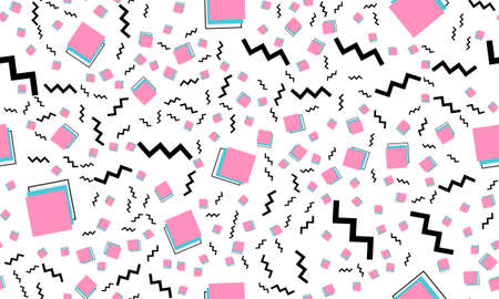 Memphis Seamless Pattern. Fun Background. Vector Illustration. Geometric Seamless Pattern. Abstract Colorful Fun Background. Hipster Style 80s-90s.