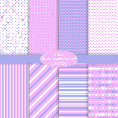 Cute pattern set. Hearts background. Valentine day design. Pink, violet colors. Polka dot, stripes, hearts pattern. Paper set mockup. Vector. 向量圖像