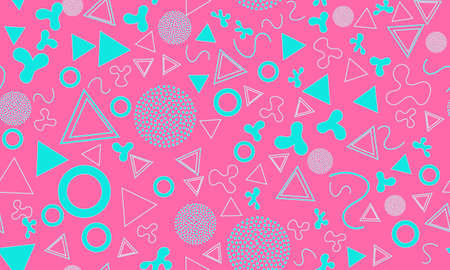 Doodle Fun Background. Baby Pattern. Summer Doodle Backdrop. Seamless 90s. Memphis Pattern. Vector Illustration. Hipster Style 80s-90s. Abstract Colorful Funky Background.