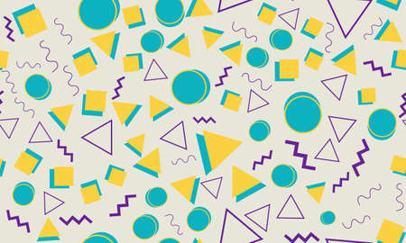 Doodle Fun Background. Seamless Pattern. Summer Doodle Backdrop. Seamless 90s. Memphis Pattern. Vector Illustration. Hipster Style 80s-90s. Abstract Colorful Funky Background. Vettoriali