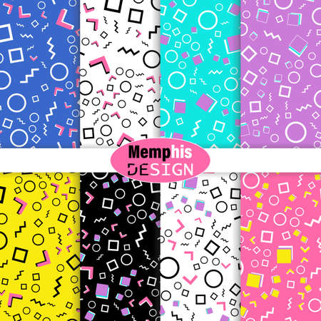 Set of Memphis Seamless Pattern. Fun Background. Pink, Blue, Yellow Colors. Memphis Style Patterns. Vector Illustration. Seamless Pattern. Abstract Colorful Fun Background. Hipster Style 80s-90s.