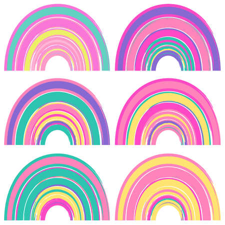 Set of watercolor cute rainbows isolated on a white background. Cartoon rainbows in bright colors.