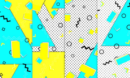 80s background. Abstract dots. Memphis pattern. Vector Illustration. Hipster style 80s-90s pattern. Abstract colorful funky background.