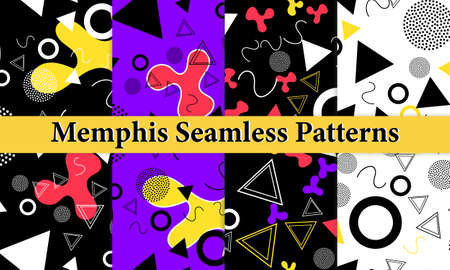 Set of Memphis Seamless Pattern. Fun Background. Trendy Colors. Memphis Style Patterns. Vector Illustration. Seamless Pattern. Abstract Colorful Fun Background. Hipster Style 80s-90s. 版權商用圖片 - 156225885