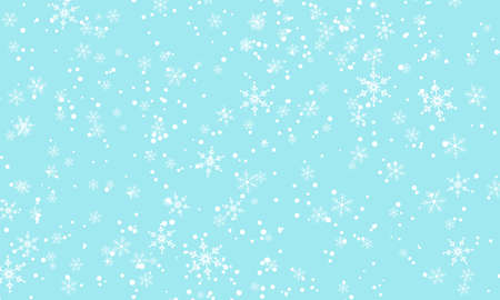 Falling Snow. Vector Illustration. White Snowflakes. Winter Blue Sky. Christmas Texture. Snow Fall Background.