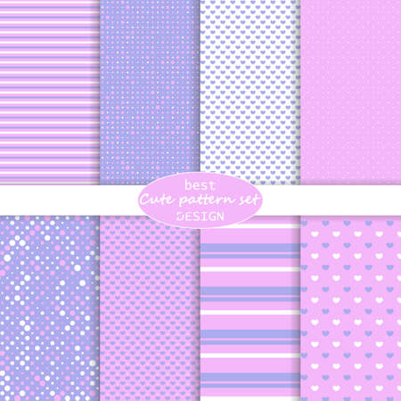 Cute pattern set. Hearts background. Valentine day design. Pink, violet colors. Polka dot, stripes, hearts pattern. Paper set mockup. Vector. Vettoriali