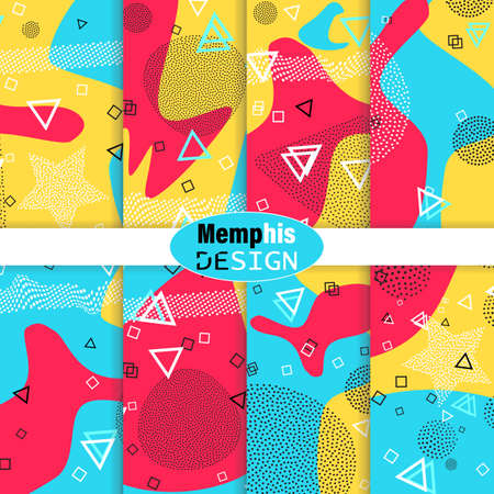 Set of Memphis Pattern. Fun Background. Red, Blue, Yellow Colors. Memphis Style Patterns. Vector Illustration. Funky Pattern. Abstract Colorful Fun Background. Hipster Style 80s-90s. 版權商用圖片 - 156282130