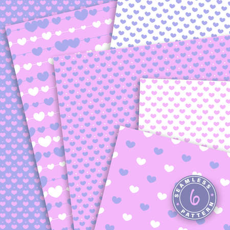 Cute seamless pattern set. Hearts background. Valentine day design. Pink, violet colors. Paper set mockup.