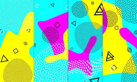 Set of Memphis Pattern. Fun Background. Pink, Blue, Yellow Colors. Memphis Style Patterns. Vector Illustration. Funky Pattern. Abstract Colorful Fun Background. Hipster Style 80s-90s.