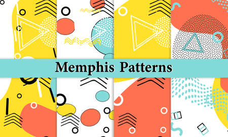 Set of Doodle Fun Patterns. Summer Doodle Background. 90s Memphis Pattern. Vector Illustration. Hipster Style 80s-90s. Abstract Colorful Funky Background.
